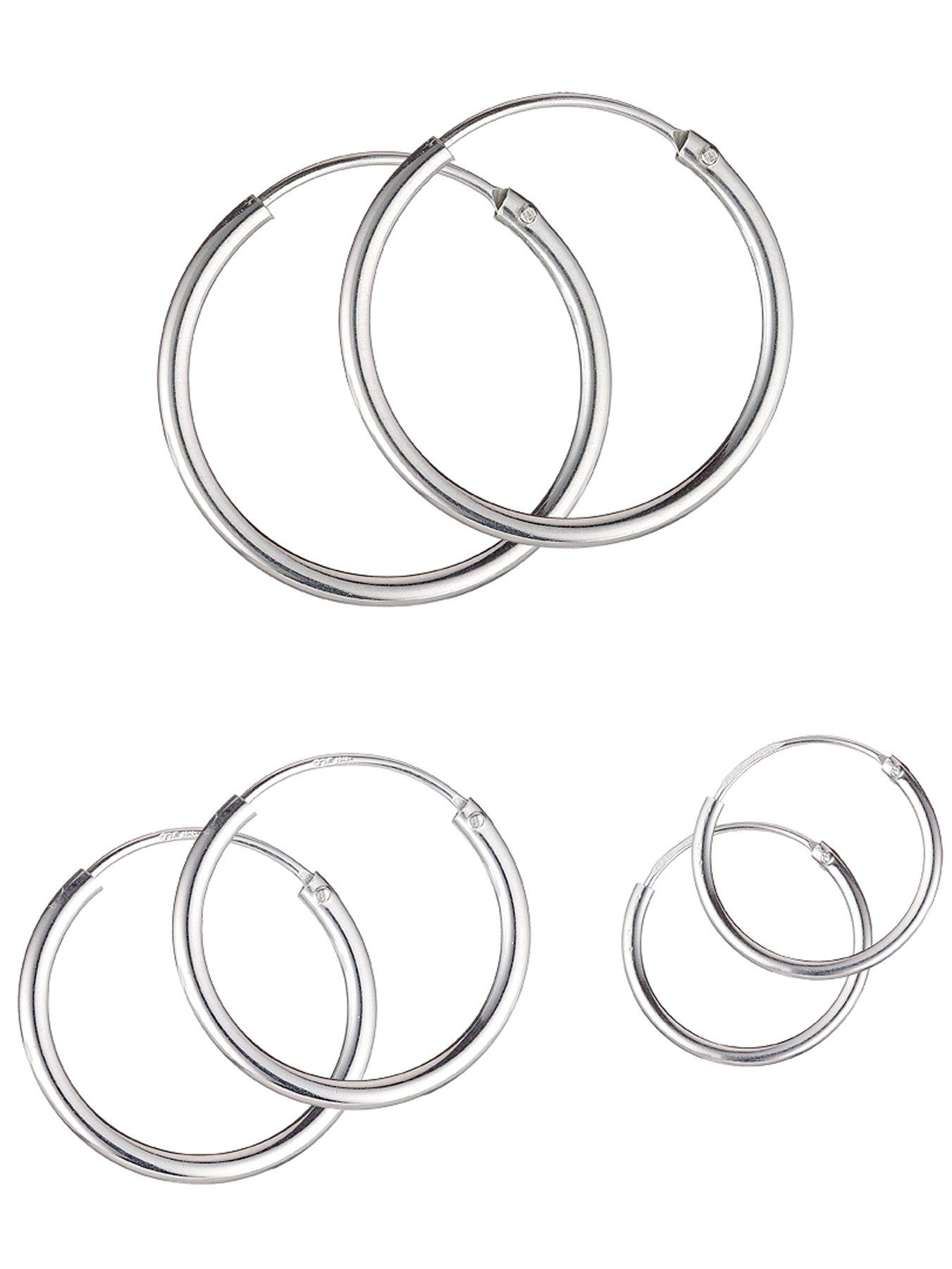 Sterling Silver Set of 3 Hoop Earrings