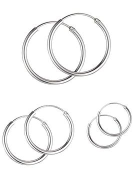 the-love-silver-collection-sterling-silver-set-of-3-hoop-earrings