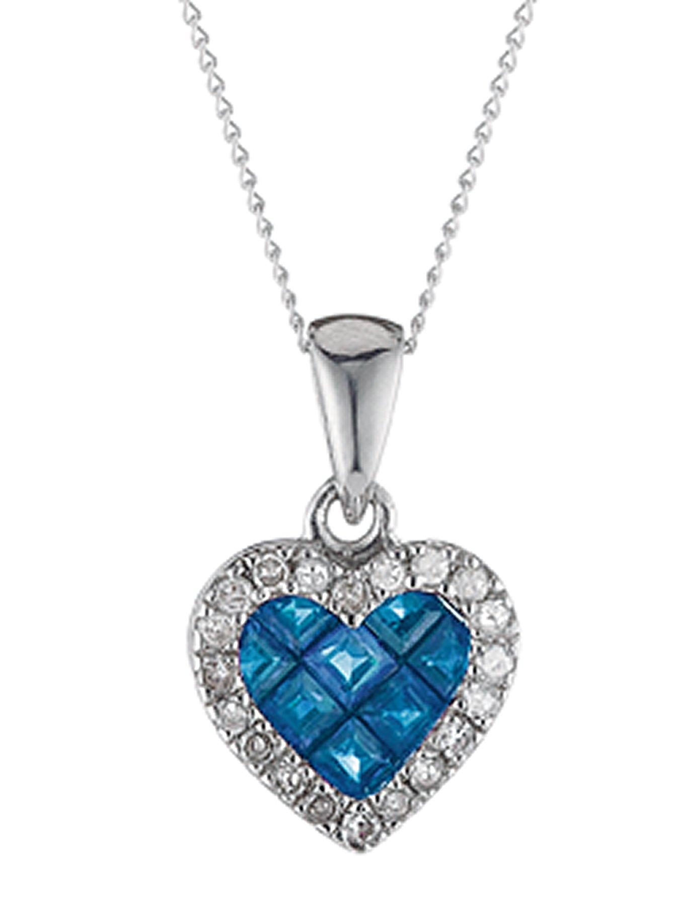 9 Carat White Gold Sapphire and Diamond Heart Pendant