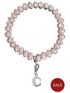 the-love-silver-collection-sterling-silver-initial-charm-pink-beaded-bracelet