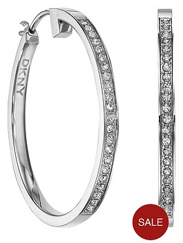 dkny-stainless-steel-cubic-zirconia-hoop-earrings