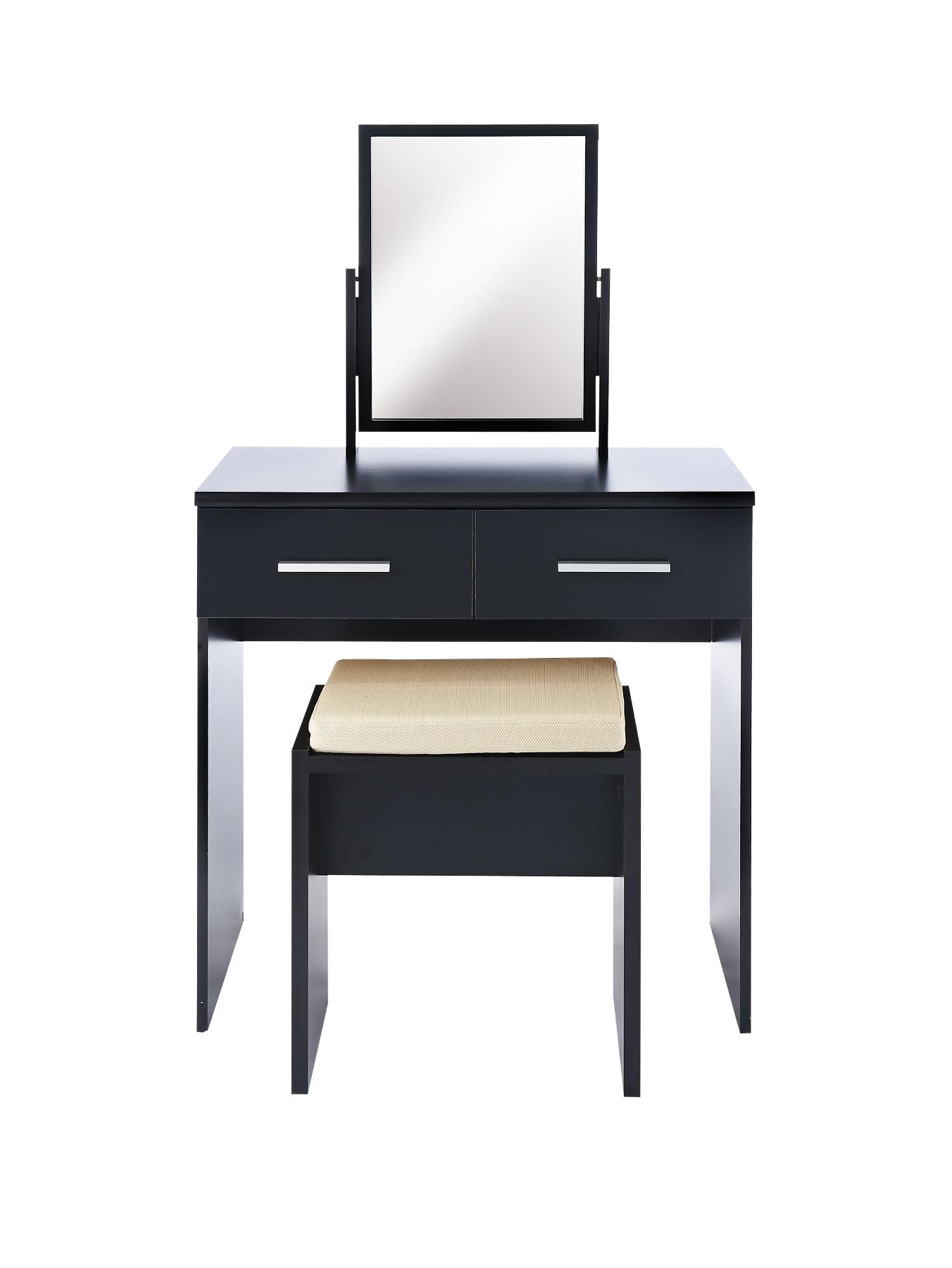 Prague High Gloss Dressing Table, Stool and Mirror Set, Black,White