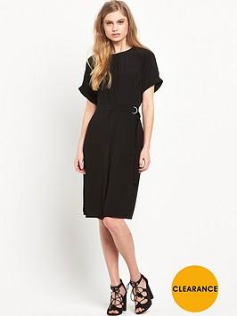 warehouse-dropped-shoulder-belted-dress