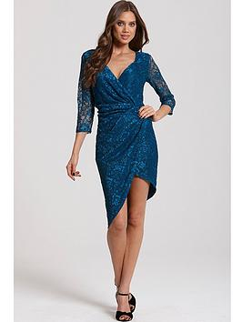 little-mistress-teal-lace-gathered-crossover-dress