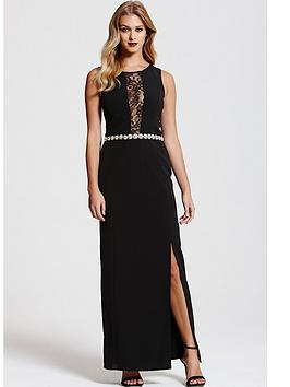 paper-dolls-black-lace-panel-jewel-waist-maxi-dress