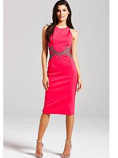little-mistress-pink-and-metallic-mesh-insert-dress