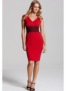 paper-dolls-red-and-black-v-neck-dress
