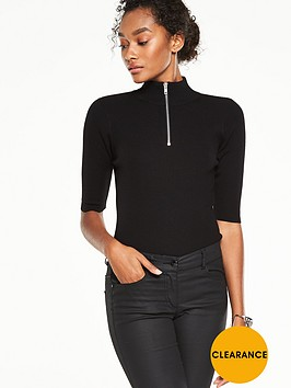 v-by-very-half-sleeve-zip-turtle-neck-jumper