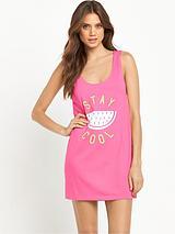 Slogan Beach Vest Dress