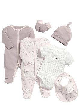 mamas-papas-baby-girls-pink-sleepsuit-and-bodysuit-gift-set-6-piece