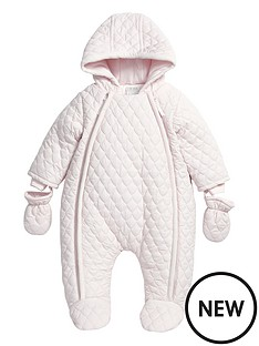 mamas-papas-baby-girls-quilted-pramsuit-with-hood-and-mittens