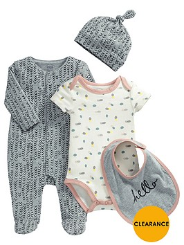mamas-papas-baby-girls-sleepsuit-bodysuit-hat-and-bib-set-4-piece