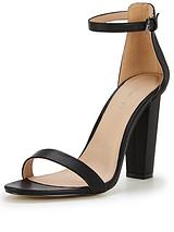 Petals Block Heeled Sandal With Ankle Strap