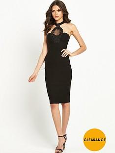 rare-keyhole-trim-midi-dress-black