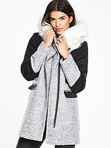 FUR COLLAR COLOUR BLOCK COAT
