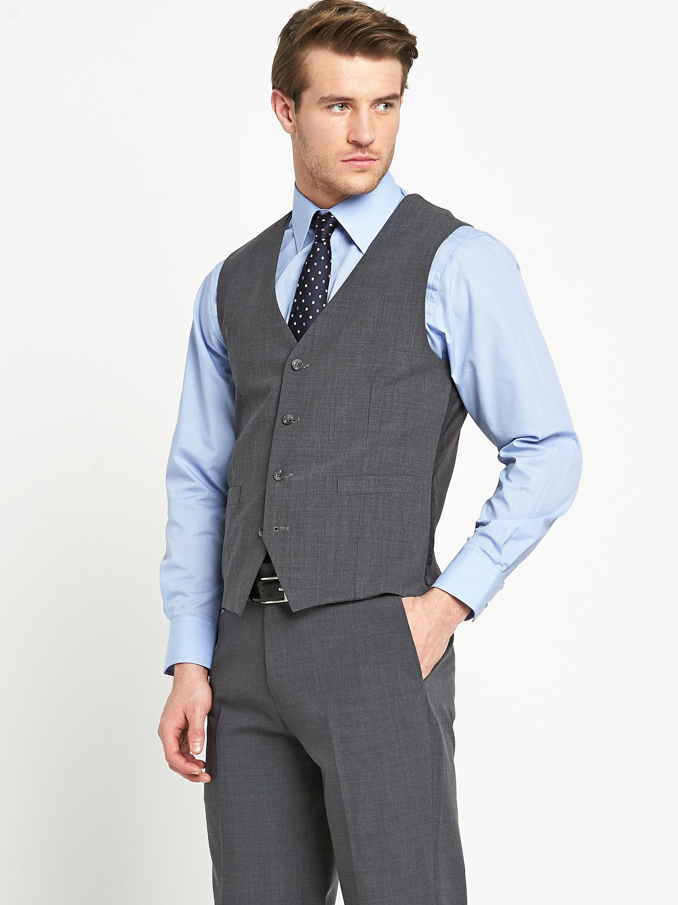 Mens Otis Suit Waistcoat - Grey, Grey