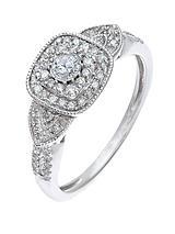 9 Carat White Gold, 33 Point Art Deco Diamond Ring