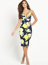 Strappy Yellow Floral Midi Dress