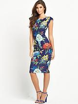 Navy Tropical Cap Sleeve Midi Dress