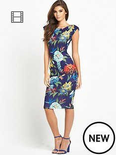 ax-paris-navy-tropical-cap-sleeve-midi-dress