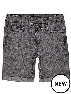 river-island-solid-grey-denim-shorts