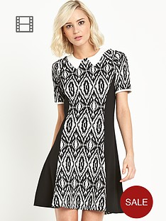 river-island-mono-print-pannelled-fit-and-flare-dress