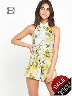 river-island-yellow-floral-collar-playsuit