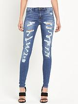 Molly Super Ripped Mid Wash Jeans
