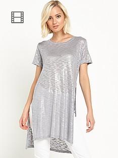 river-island-metallic-split-side-t-shirt