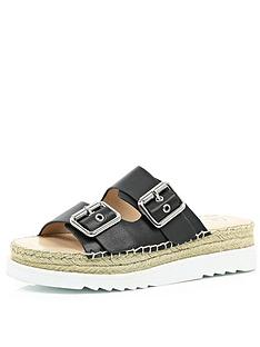 river-island-double-sole-footbed-sandals-with-2-buckles