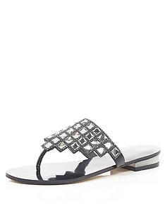 river-island-panda2-square-jewel-flat-sandals