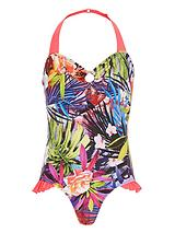 Girls Tropical Print Swimsuit