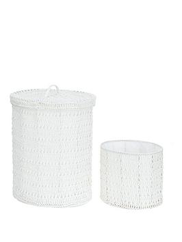 Oval Crochet Laundry Hamper With Waste Paper Basket