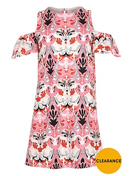 river-island-girls-printed-cold-shoulder-dress