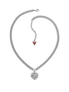 guess-rhodium-plated-crystal-heart-drop-curb-necklace