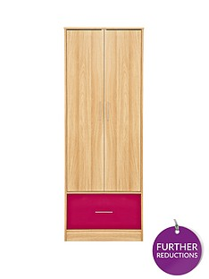 kidspace-ohio-2-door-1-deep-drawer-wardrobe-black-pink