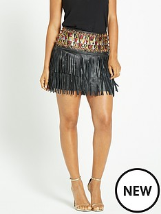 rochelle-humes-aztec-detail-leather-fringe-skirt-black