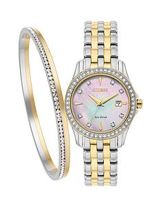 citizen-citizen-eco-drive-silhouette-crystal-two-tone-ladies-watch-amp-bangle-gift-set