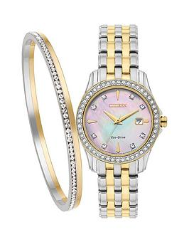 citizen-eco-drive-silhouette-crystal-two-tone-ladies-watch-amp-bangle-gift-set