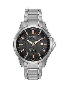 citizen-citizen-eco-drive-black-dial-rose-gold-tone-accent-titanium-bracelet-mens-watch