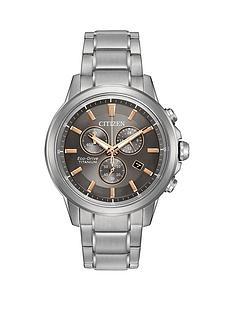 citizen-citizen-eco-drive-grey-dial-rose-gold-tone-accents-chronograph-titanium-bracelet-mens-watch