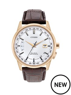citizen-citizen-eco-drive-white-dial-radio-controlled-perpetual-calendar-rose-gold-tone-case-brown-leather