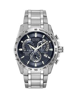 Citizen Citizen EcoDrive Blue Dial Radio Controlled Perpetual Calendar Alarm Titanium Bracelet Mens Watch
