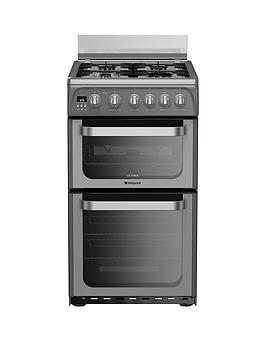 hotpoint-ultima-hug52g-50cm-double-oven-gas-cooker-with-fsd-graphite