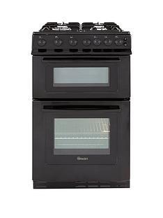 swan-sx2071b-50cm-wide-freestandng-twin-cavity-gas-cooker-black