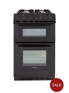 swan-sx2071b-50cm-wide-freestandng-twin-cavity-gas-cooker-black