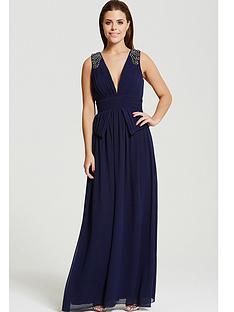little-mistress-chloe-lewis-navy-plunge-peplum-maxi-dress