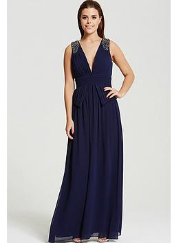 little-mistress-chloe-lewis-navy-plunge-peplum-maxi-dress