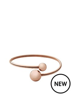 skagen-rose-gold-plated-circle-crossover-flexi-bangle