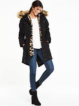 3 In 1 Canvas Parka With Faux Fur Trim